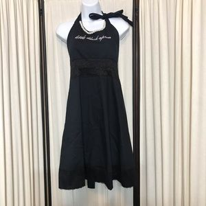 Little Black Apron One Size with Pearl Necklace